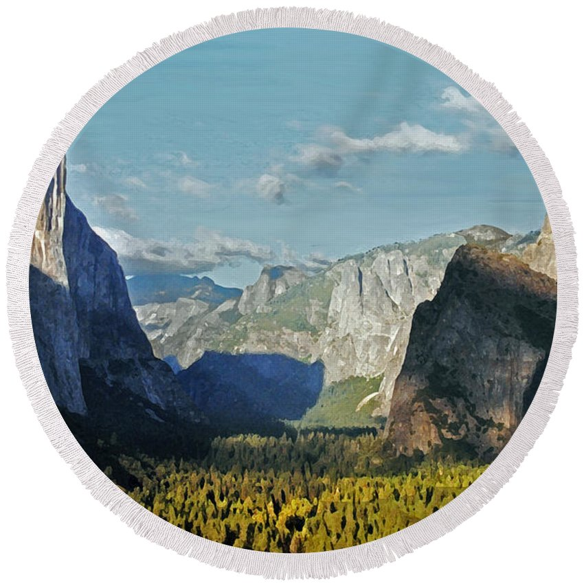 Yosemite Round Beach Towel featuring the photograph Yosemite by Lydia Holly
