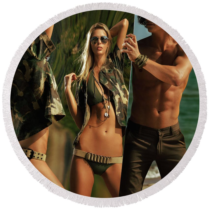 Couple Round Beach Towel featuring the photograph Young Man Holding A Mirror For A Woman by Maxim Images Prints