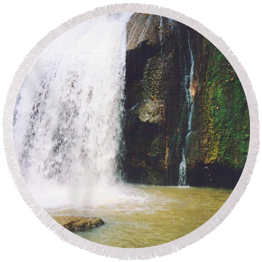 Jamaica Round Beach Towel featuring the photograph YS Falls5 Jamaica by Debbie Levene