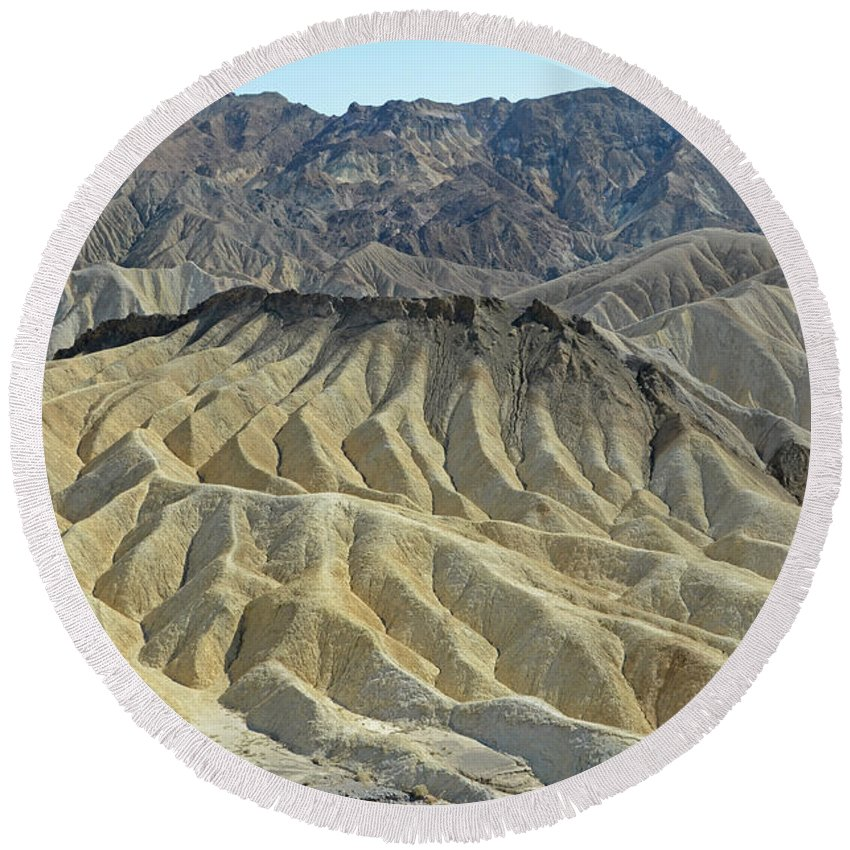 Zabriskie Point Round Beach Towel featuring the photograph Zabriskie Point by Cassie Marie Photography