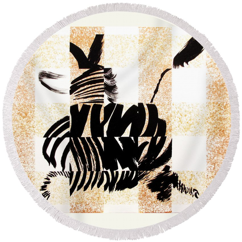 Zebra - Abstract Round Beach Towel featuring the painting Zebra In Flight by Vicki Crone