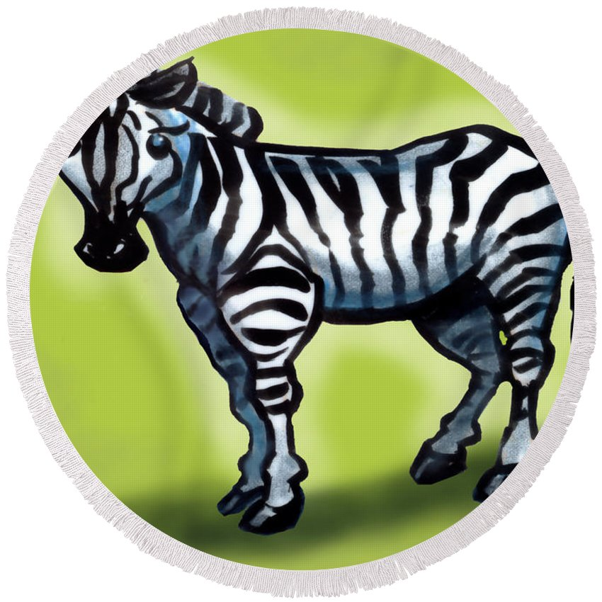 Zebra Round Beach Towel featuring the painting Zebra by Kevin Middleton