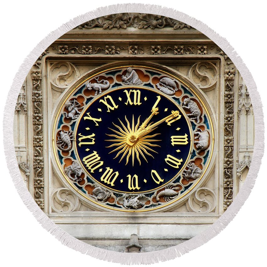 Zodiac Round Beach Towel featuring the photograph Zodiac Clock by Andrew Fare