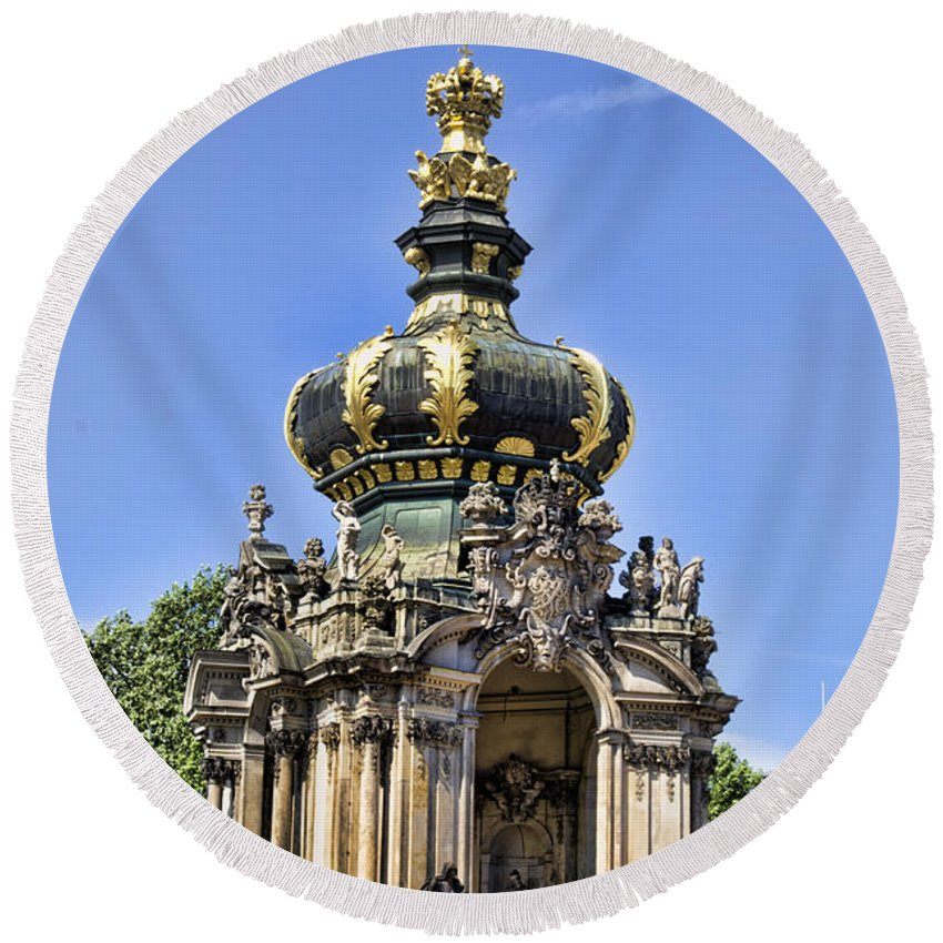 Zwinger Palace Crown Gate Round Beach Towel featuring the photograph Zwinger Palace Crown Gate by Jon Berghoff