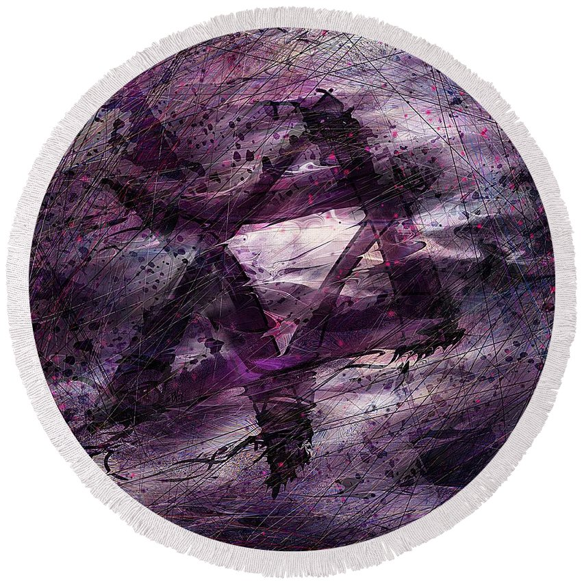 Abstract Round Beach Towel featuring the digital art . . . When We Remembered Zion by Rachel Christine Nowicki