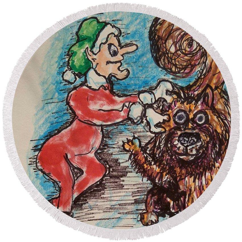 Elfs Round Beach Towel featuring the painting    A Elf And Her Dog by Geraldine Myszenski