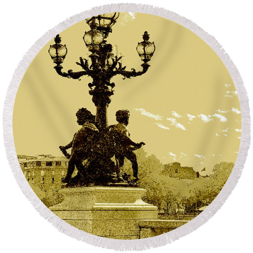 Vacation Round Beach Towel featuring the digital art # 10 Paris France by Alan Armstrong
