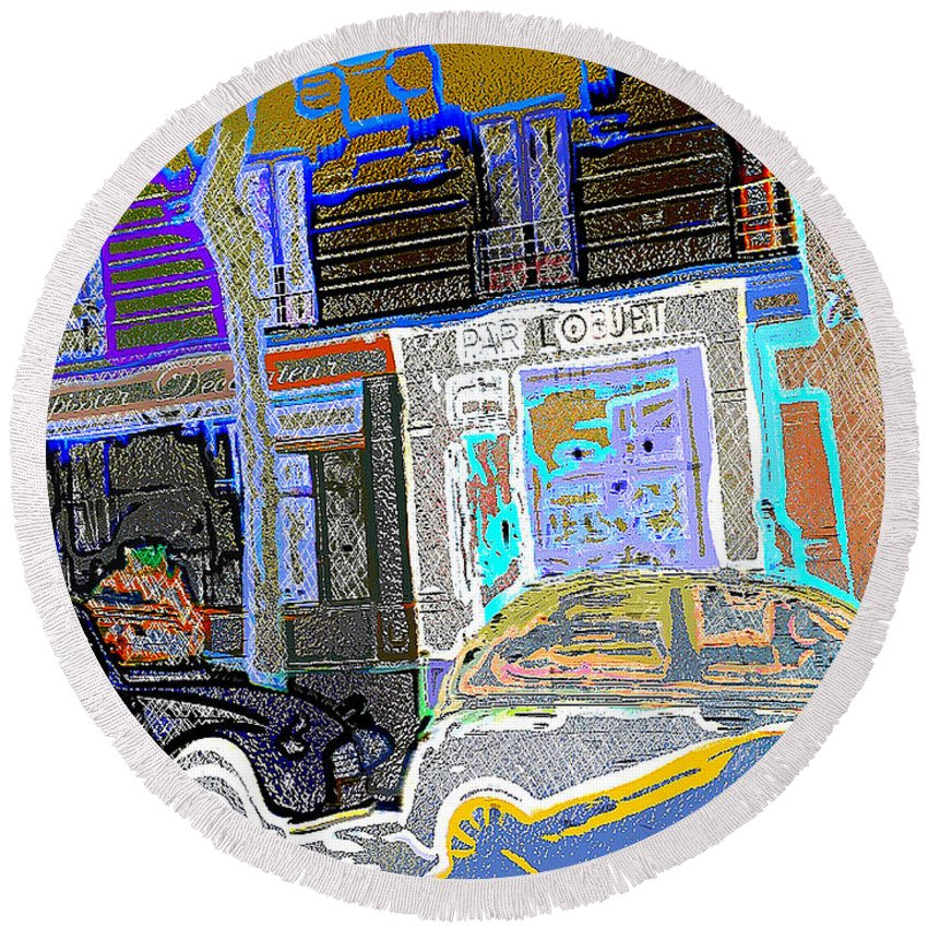 Mont- Martre Round Beach Towel featuring the digital art # 12 Paris France by Alan Armstrong