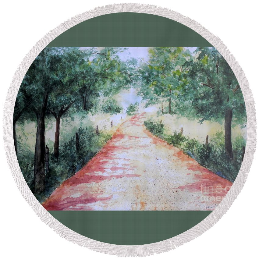 Country Road Round Beach Towel featuring the painting A Country Road by Vicki Housel