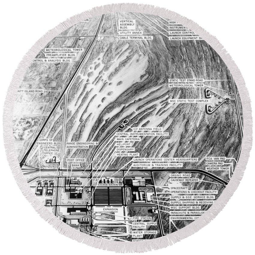 Aerial Oblique Artist Concept Of Thenasa Merritt Island Launch Complex Round Beach Towel