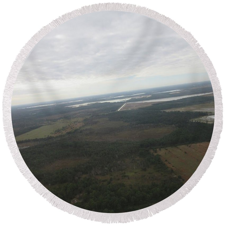 Fort Myers Round Beach Towel featuring the photograph Aerial View Of Fort Myers by Frederick Holiday