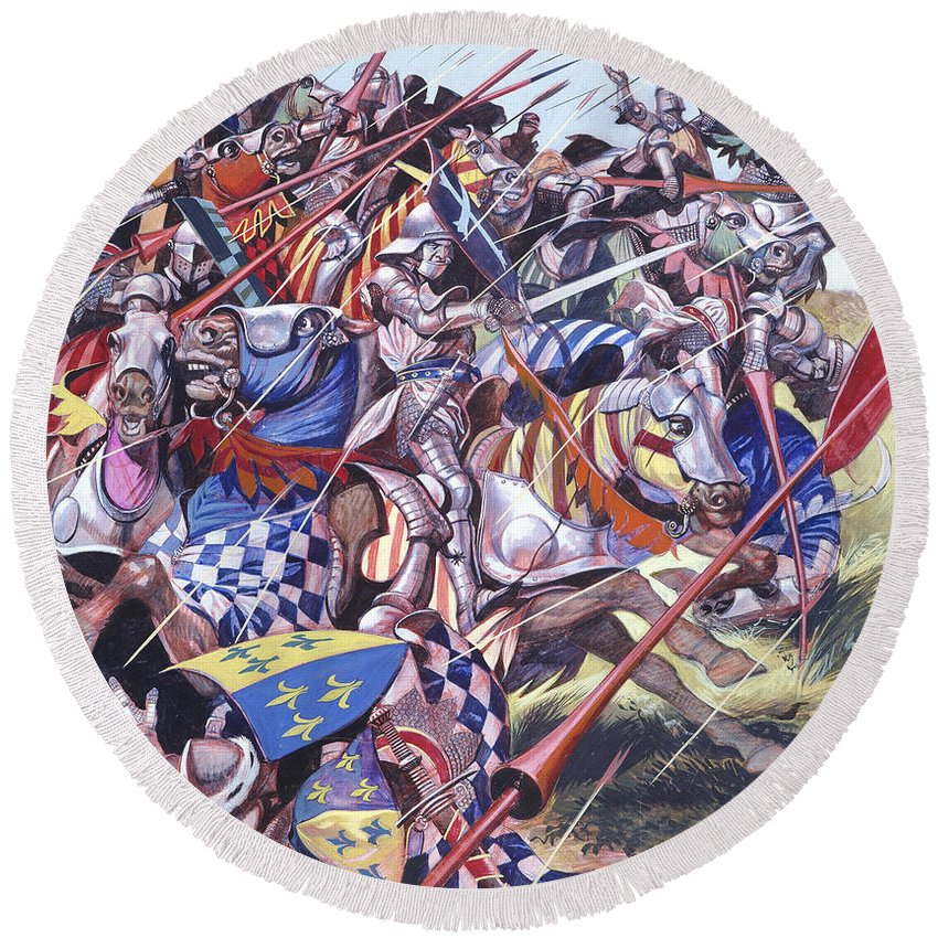 King; Monarch; Battle; Calais; Medieval; Knight; Horse; Longbow; Shield; Armour; Spear; Arrow; Sword; Battle; Soldiers; France; Middle Ages; Azincourt Round Beach Towel featuring the painting Agincourt The Impossible Victory 25 October 1415 by Ron Embleton