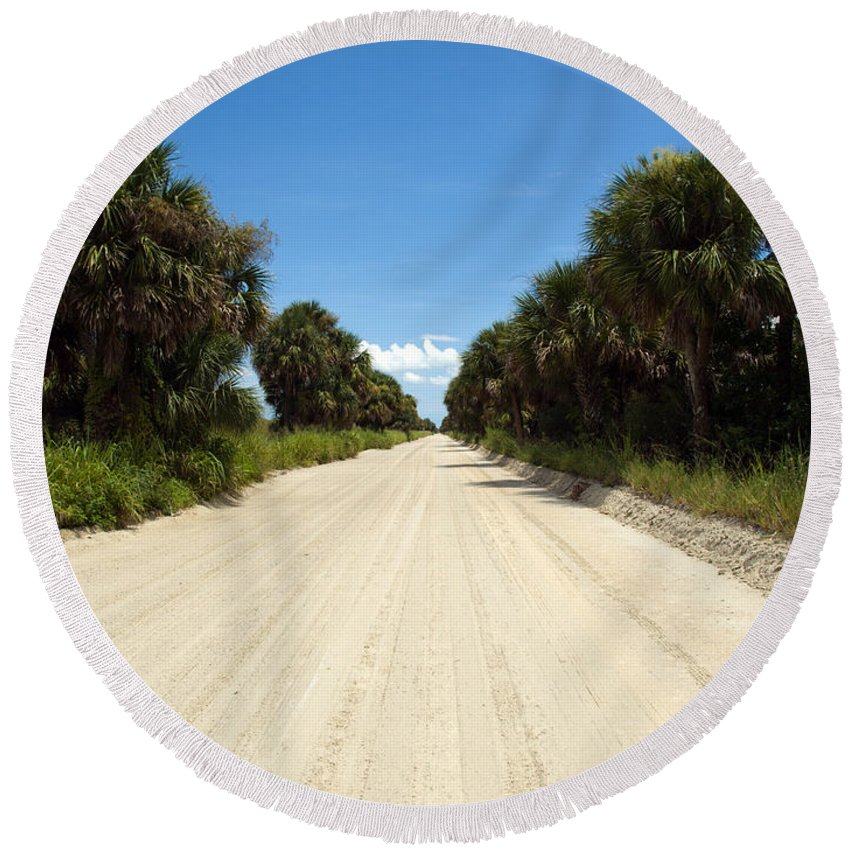 Florida; Road; Back; Backroad; Central; Dirt; Plow; Plowed; Clay; Mud; Muddy; Places; Unknown; Trave Round Beach Towel featuring the photograph Back Road In Central Florida. by Allan Hughes