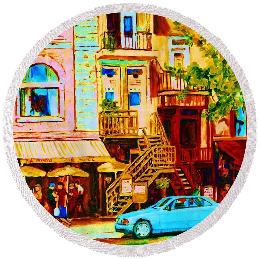 Cafe Art Round Beach Towel featuring the painting Beautiful Cafe Soleil by Carole Spandau