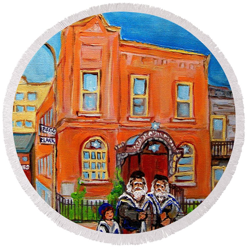 Beautiful Synagogue On Bagg Street Round Beach Towel featuring the painting Beautiful Synagogue On Bagg Street by Carole Spandau