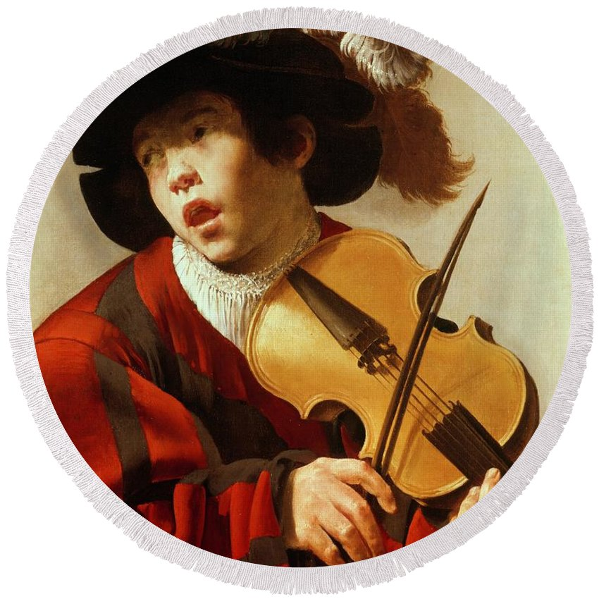 Boy Round Beach Towel featuring the painting Boy Playing Stringed Instrument And Singing by Hendrick Ter Brugghen