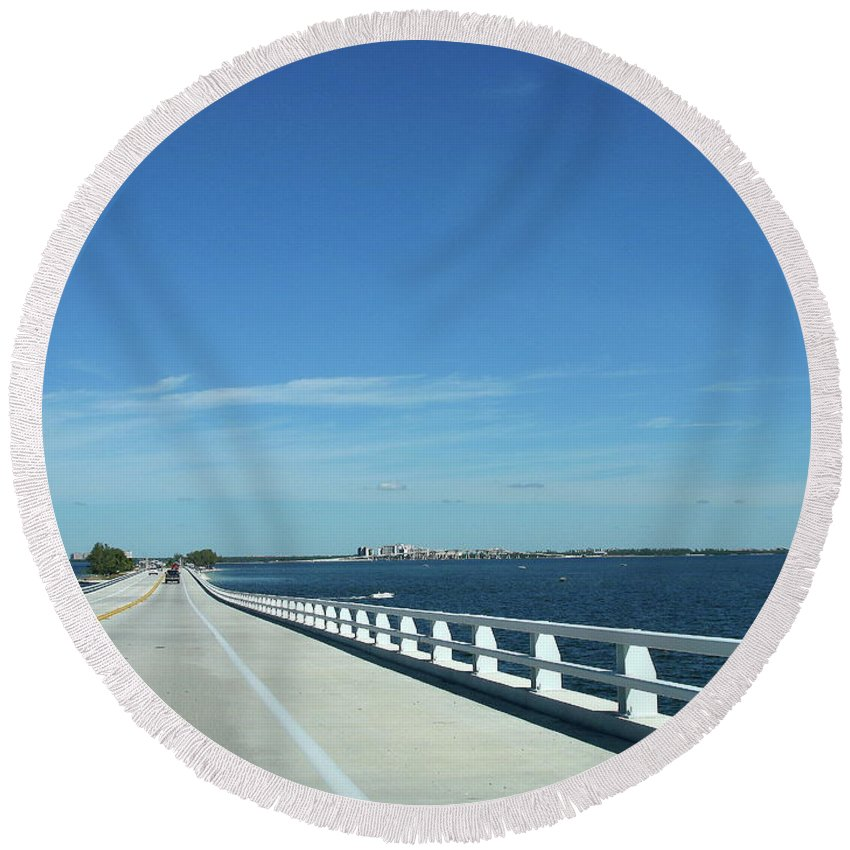 Bridge Round Beach Towel featuring the photograph Bridge Over The Sea by Christiane Schulze Art And Photography