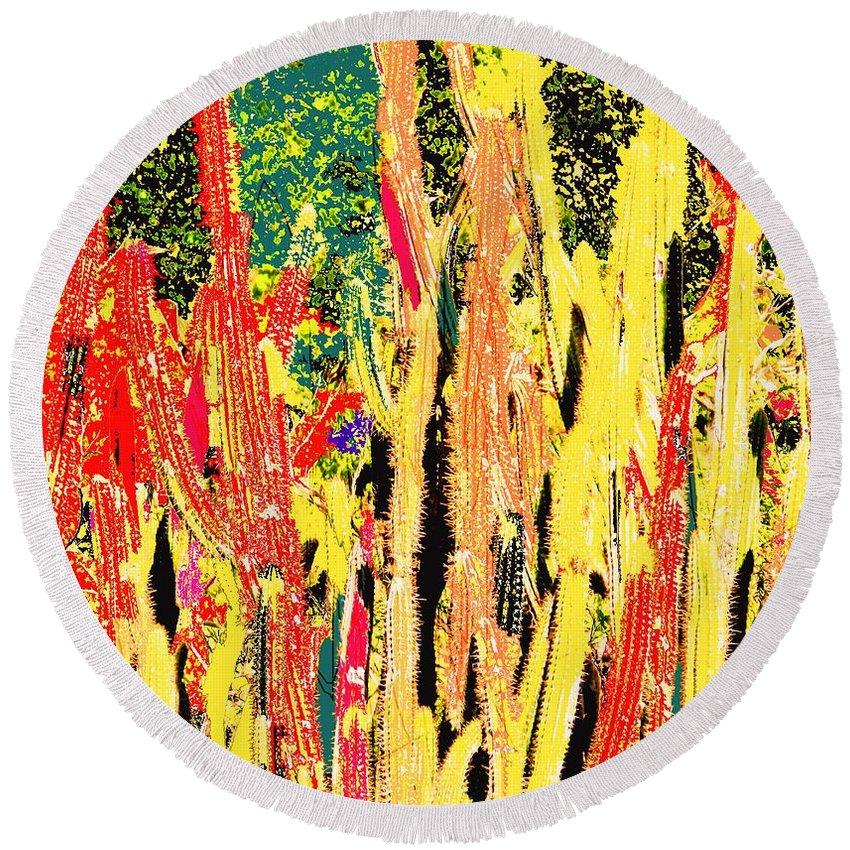 Cactus Round Beach Towel featuring the digital art Bridgestone Cacti by Ian MacDonald