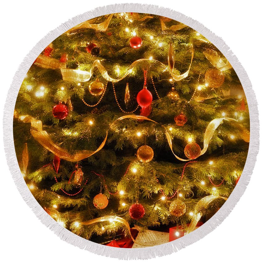 Victorian Christmas Tree Xmas Baubles Gifts Presents Decorations Ribbon Pine Needles Fairy Lights Round Beach Towel featuring the photograph Christmas Tree by Mal Bray