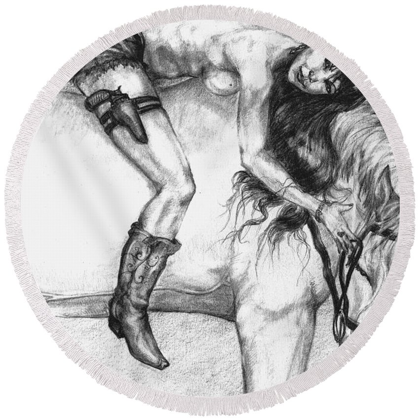 Cowgirl Round Beach Towel featuring the drawing Cowgirl Riding A Hourse by Alban Dizdari