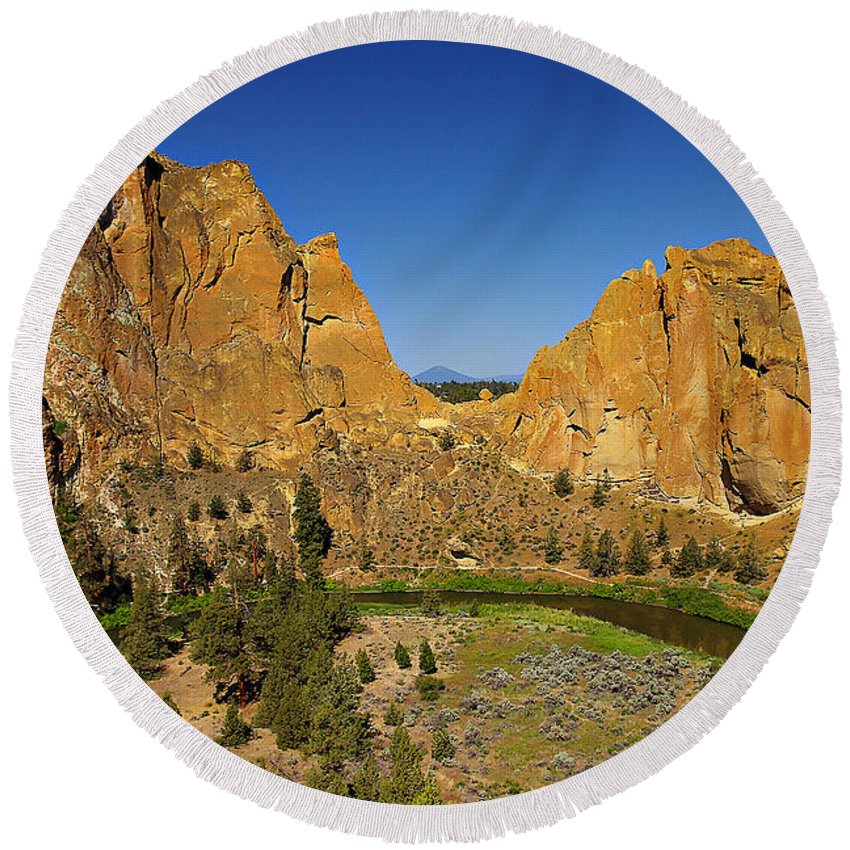 Oregon Round Beach Towel featuring the photograph Crooked River At Smith Rock State Park Oregon by Rich Walter