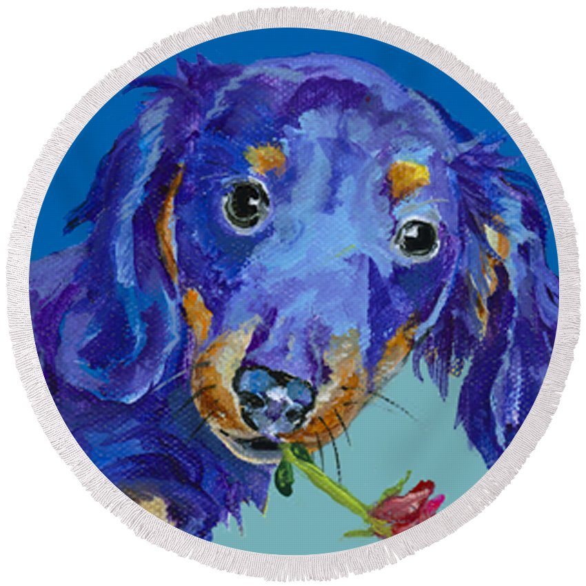 Mini Painting Round Beach Towel featuring the painting  Dach by Pat Saunders-White