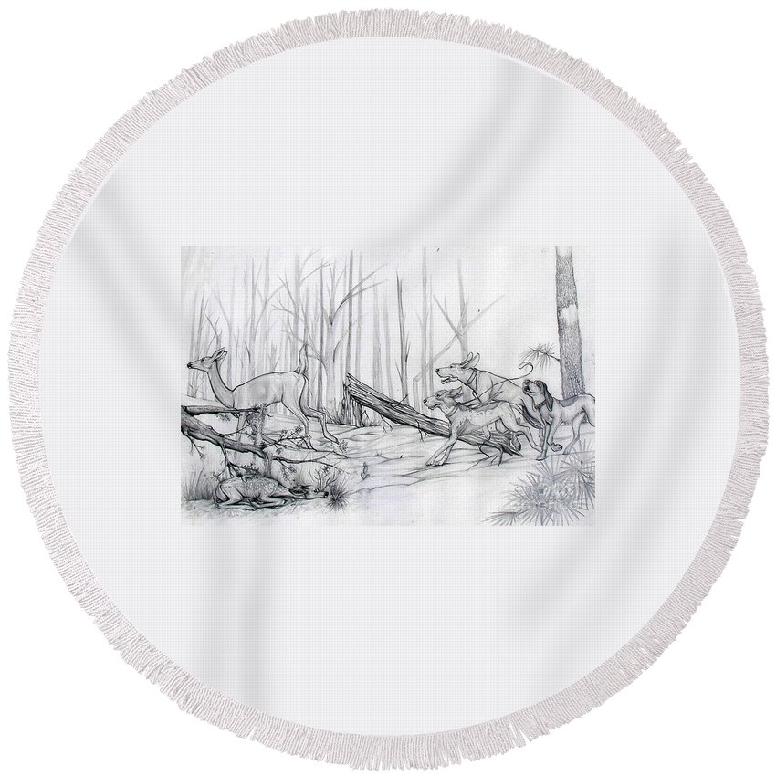 Deer Round Beach Towel featuring the drawing Desperate Diversion by Monica Turner