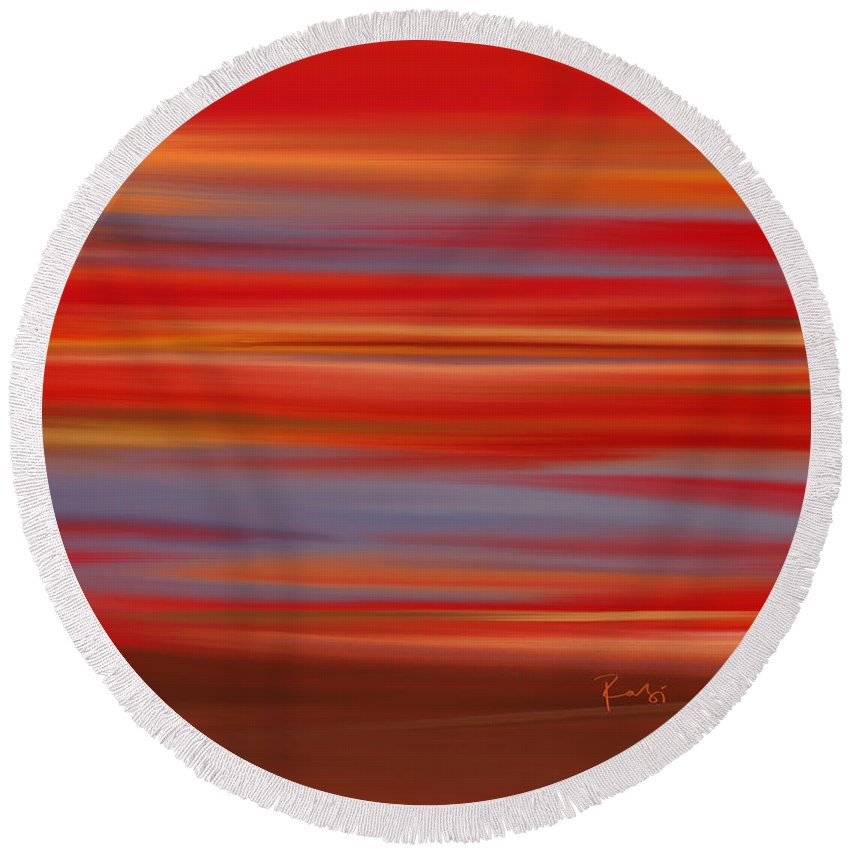 Abstract Round Beach Towel featuring the digital art Evening In Ottawa Valley by Rabi Khan