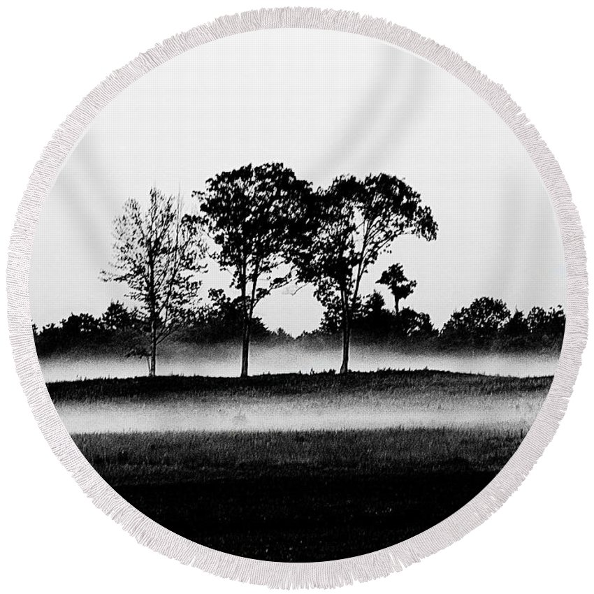 Black And White Landscape In Maine Round Beach Towel featuring the photograph Evening Mist Black And White by Expressionistart studio Priscilla Batzell