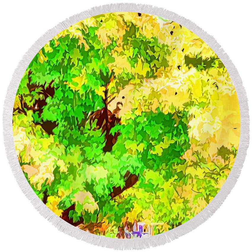 Fall Leaves Trees Round Beach Towel featuring the painting Fall Leaves 1 by Jeelan Clark