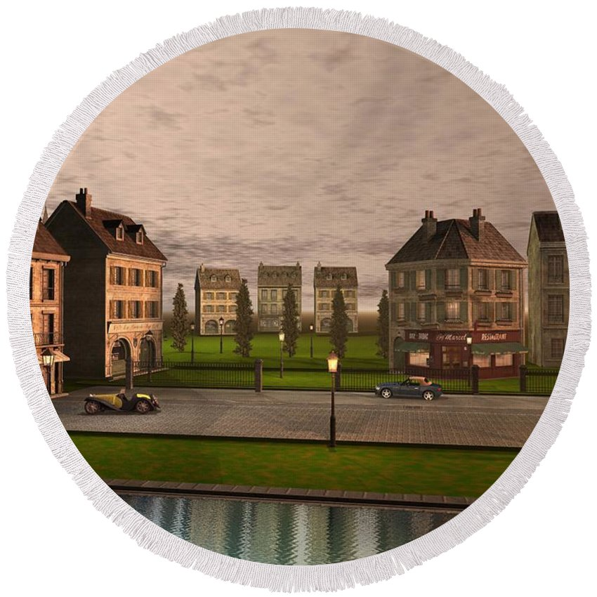 Cityscape Round Beach Towel featuring the digital art French City Landscrape by John Junek