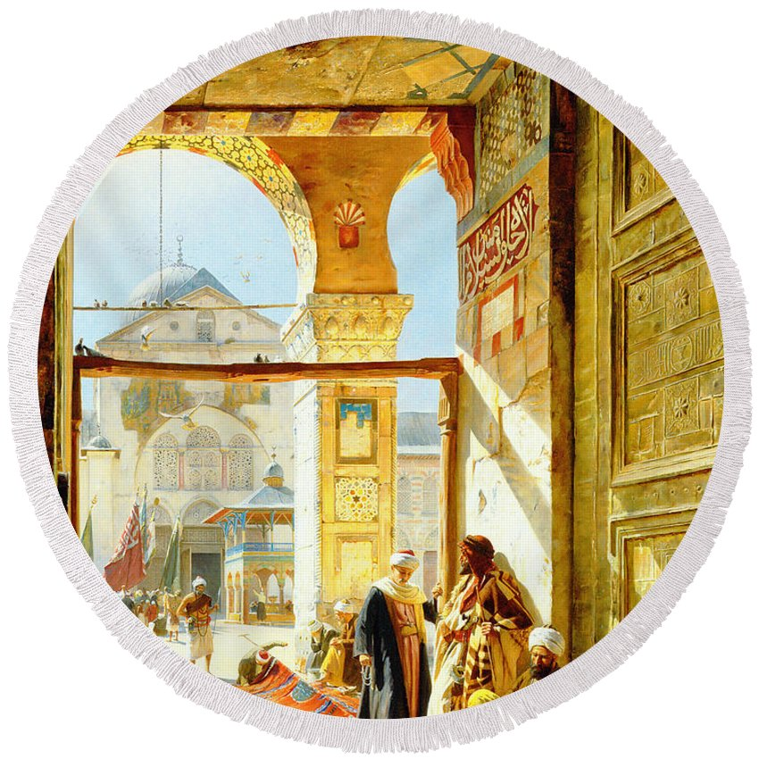 Gustav Bauernfeind Round Beach Towel featuring the painting Gate Of The Great Mosque. Damascus by Gustav Bauernfeind