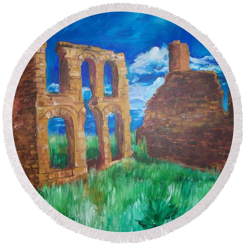 Western_landscapes Round Beach Towel featuring the painting Ghost Town by Eric Schiabor