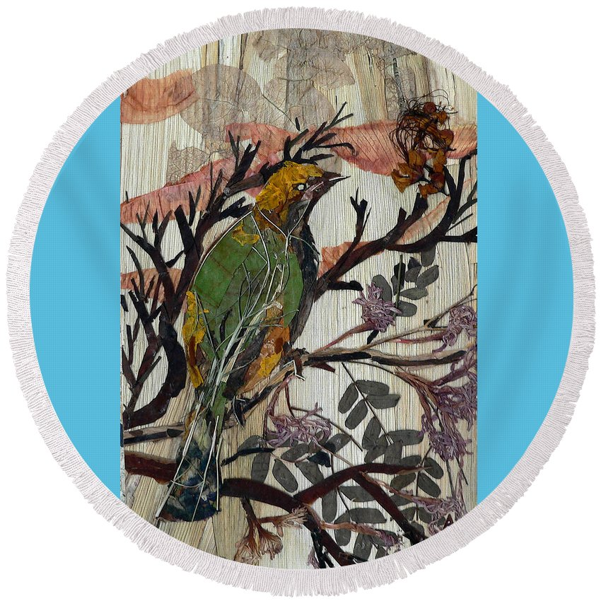 Green Bird Round Beach Towel featuring the mixed media Green-yellow Bird by Basant Soni