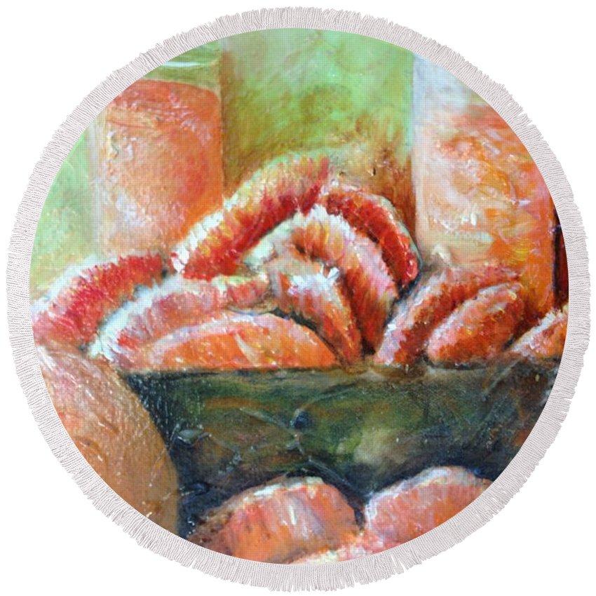 Still Life Round Beach Towel featuring the painting Mandarin Oranges by Chuck Gebhardt