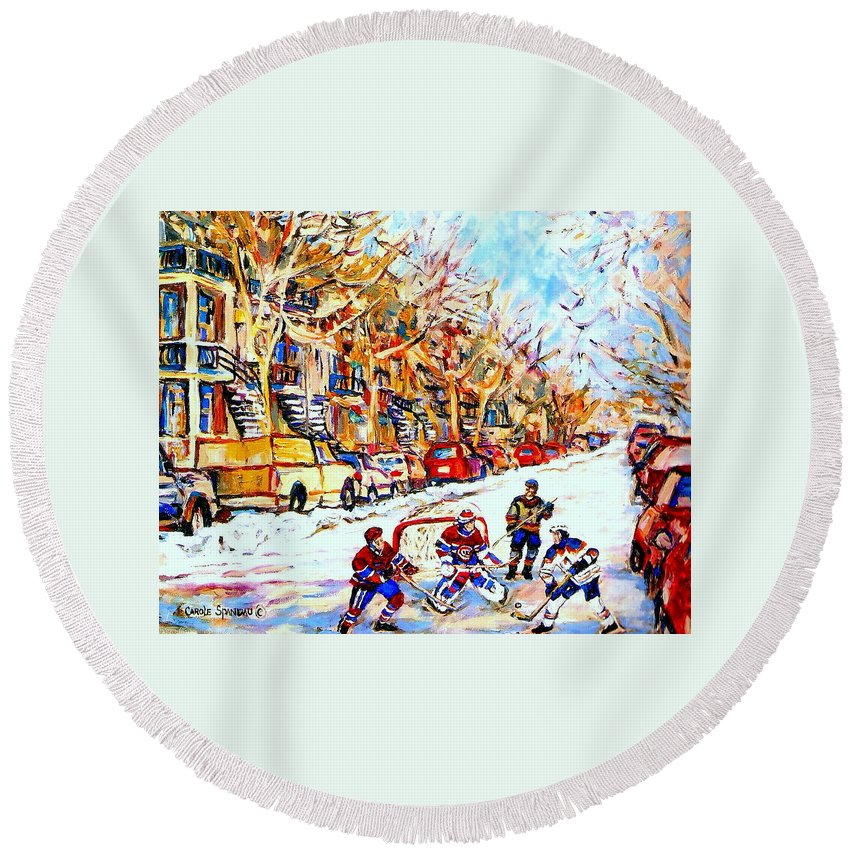 Hockey Round Beach Towel featuring the painting Hockey Game On Colonial Street Near Roy Montreal City Scene by Carole Spandau