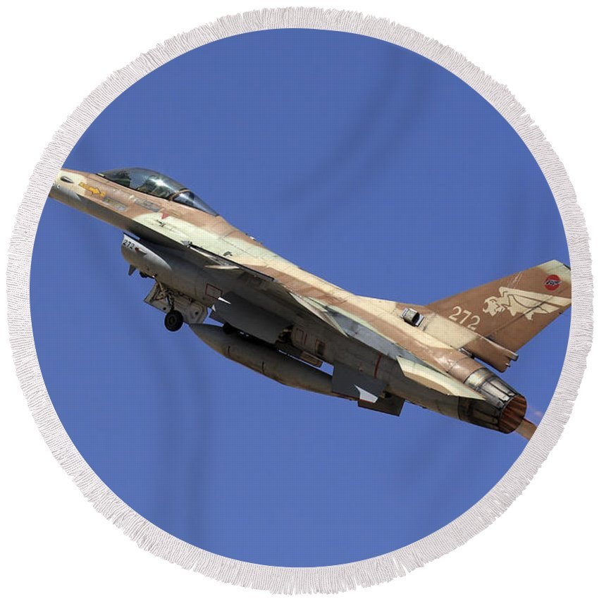 Aircraft Round Beach Towel featuring the photograph Iaf F-16a Fighter Jet On Blue Sky by Nir Ben-Yosef
