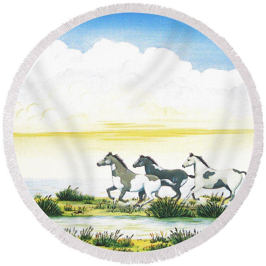 Chincoteague Round Beach Towel featuring the painting Indian Ponies by Jerome Stumphauzer