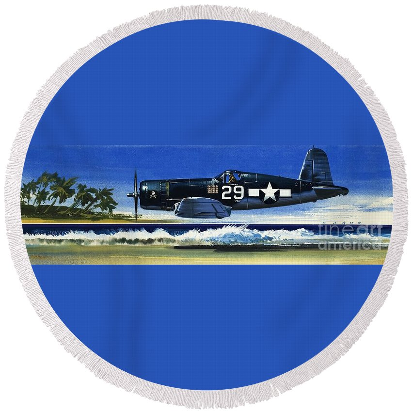 Aircraft; Aeroplane; Plane; Flying; Chance Vought F4u-1a Corsair Round Beach Towel featuring the painting Into The Blue American War Planes by Wilf Hardy
