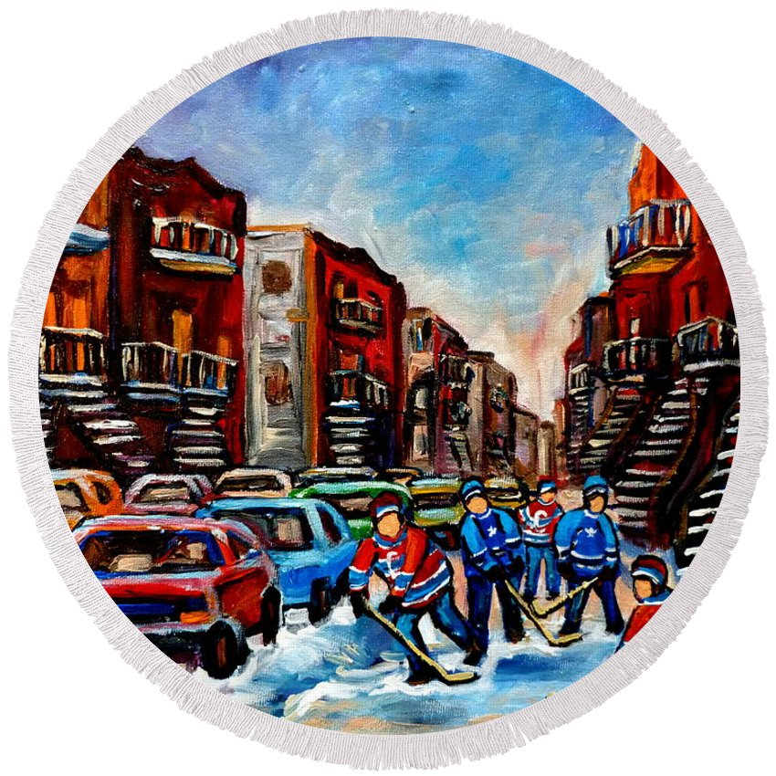 Montreal Round Beach Towel featuring the painting Late Afternoon Street Hockey by Carole Spandau