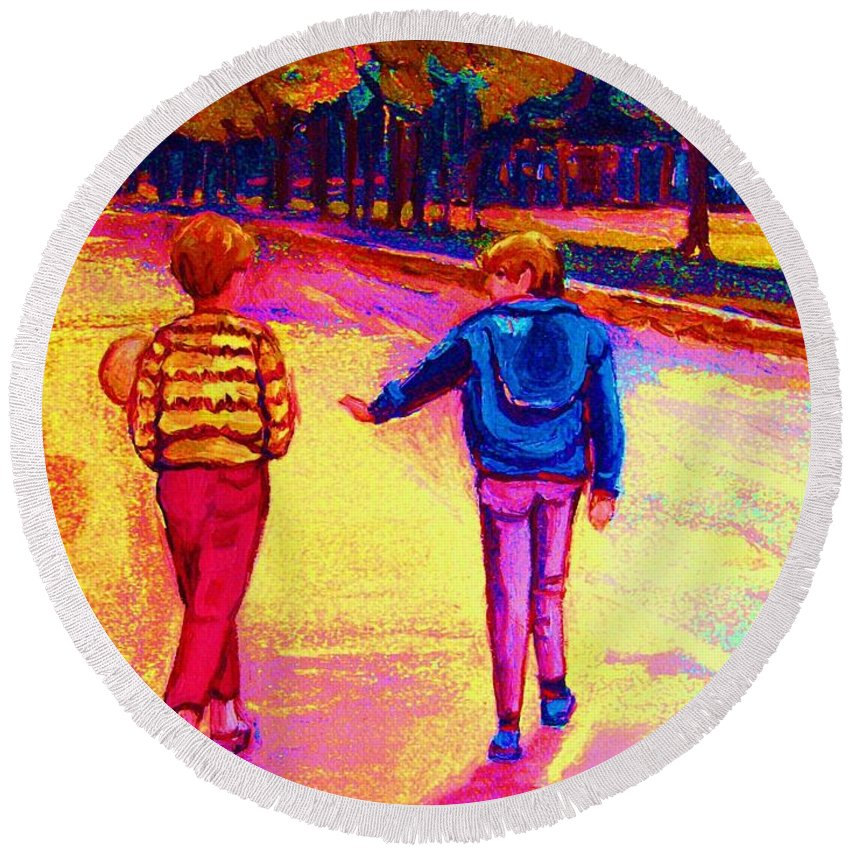 Children Round Beach Towel featuring the painting Lets Play Ball At Beaverlake Park by Carole Spandau