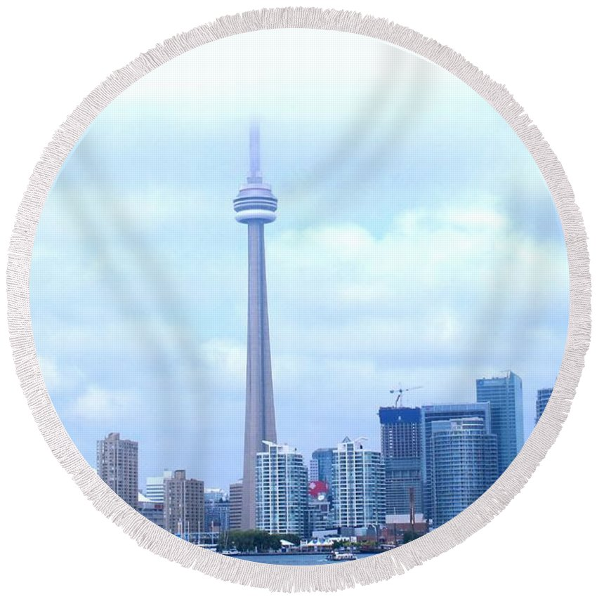 Toronto Round Beach Towel featuring the photograph Lost In The Clouds by Ian MacDonald