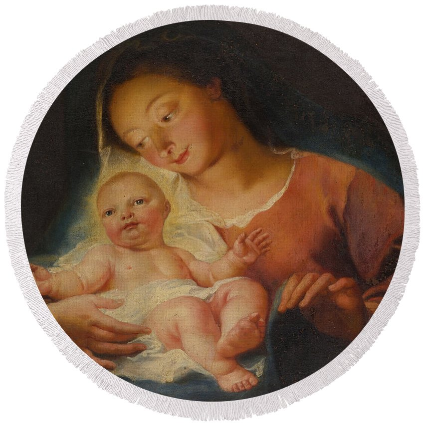 Antoine Coypel Round Beach Towel featuring the painting Madonna And Child by Antoine Coypel