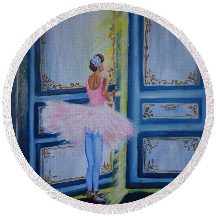 Acrylic On Canvas Round Beach Towel featuring the painting Magic Moment by Tzvetanka Apostolova
