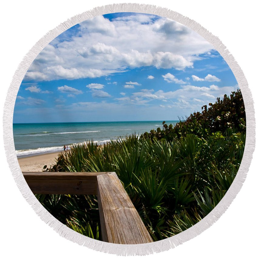 Beach; February; Florida; Warm; Warmth; Temperature; Degrees; Weather; Sun; Melbourne; Sand; Shore; Round Beach Towel featuring the photograph Melbourne Beach On The East Coast Of Florida by Allan Hughes