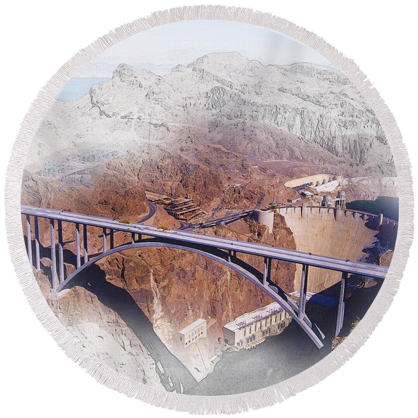 Art & Collectibles Round Beach Towel featuring the digital art Mike O'callaghan Pat Tillman Memorial Bridge by Don Kuing