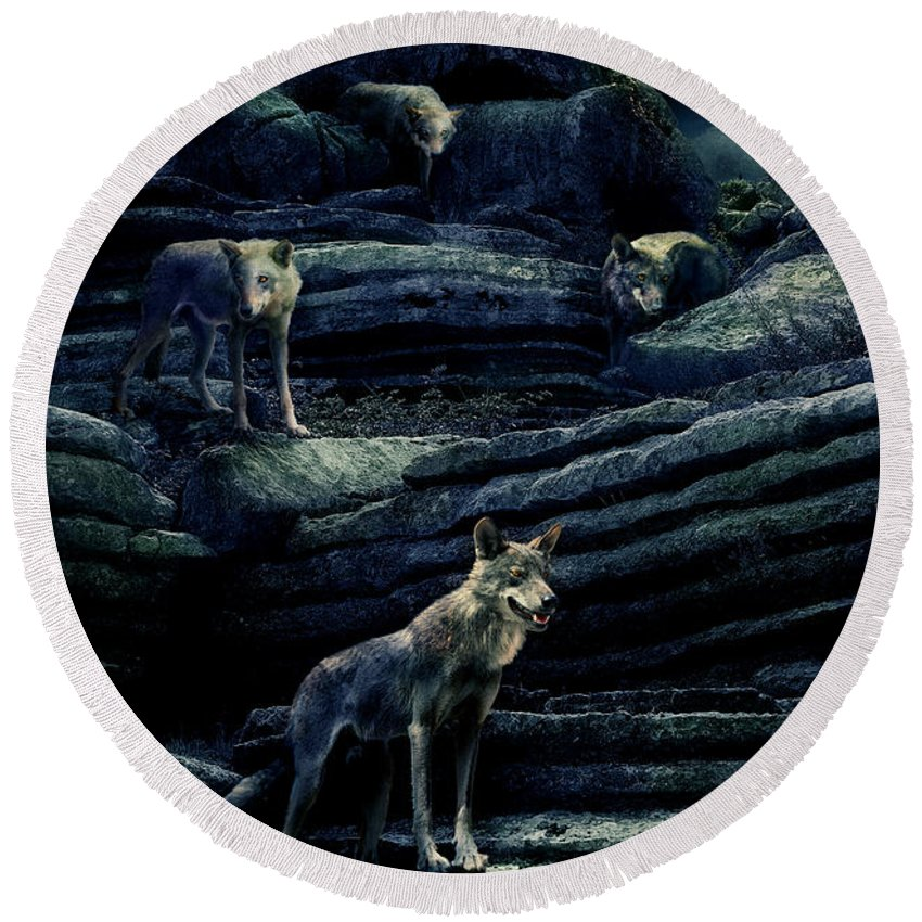 Wolf Round Beach Towel featuring the photograph Moonlit Wolf Pack by Mal Bray