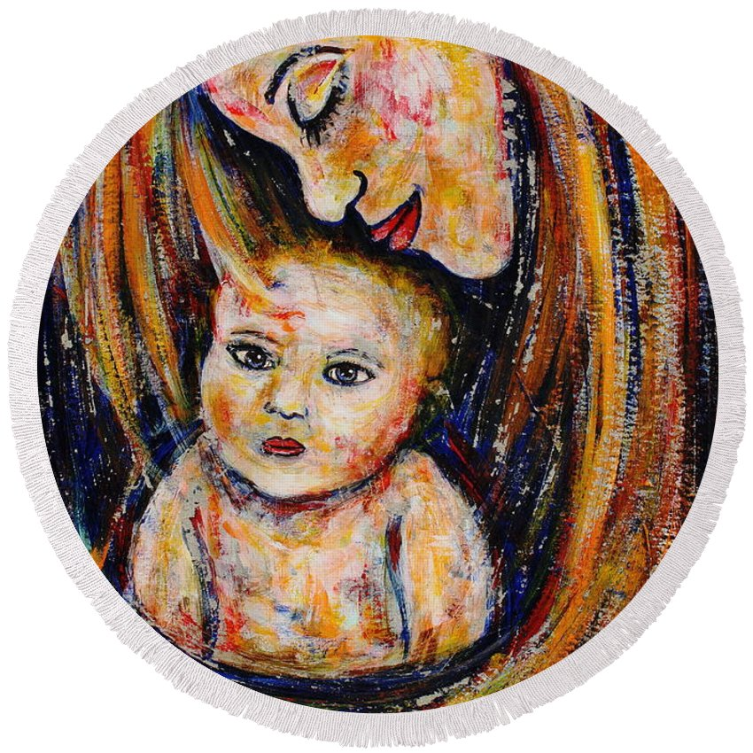 Expressionism Round Beach Towel featuring the painting Mother's Love by Natalie Holland