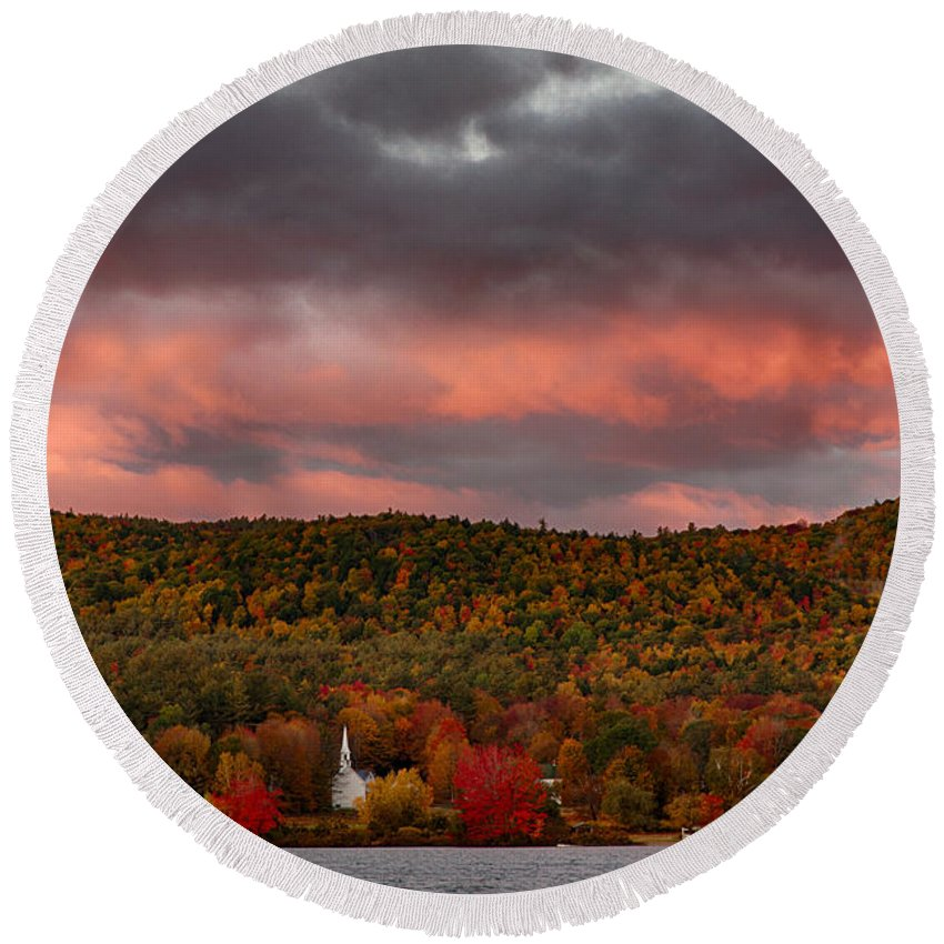 #jefffolger Round Beach Towel featuring the photograph New England Fall Foliage Over The Small White Church by Jeff Folger