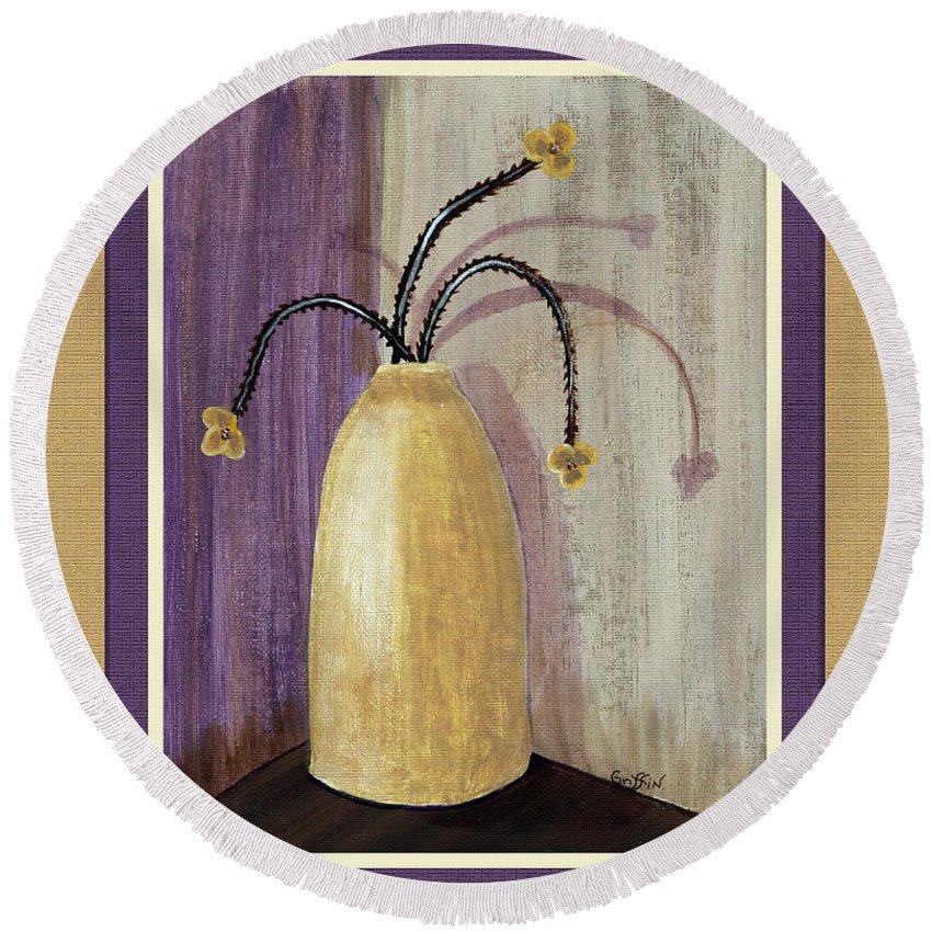 Octillo Branches In An Urn Round Beach Towel featuring the painting Octillo Branches In An Urn by Barbara Griffin